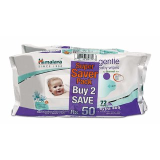 Himalaya Gentle Baby Wipes 72's*2 (Pack of 2)
