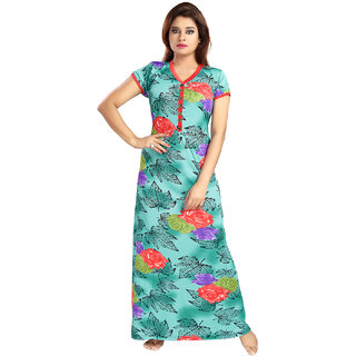 Be You Fashion Serena Satin Sea-Green Floral Printed Nightgown for Women