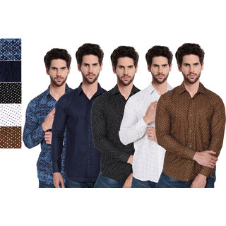 Red Code Printed Casual Shirts For Men Pack Of 5