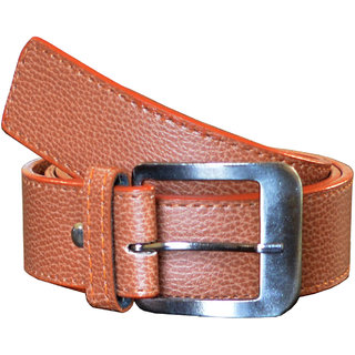 Wholesome Deal Leatherite tan color Formal needle Pin-Hole Buckle Belts For Men Free Size (28 to 40) (Synthetic leather/Rexine)