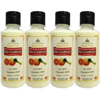 Khadi Pure Herbal Orange  Lemongrass Hair Conditioner SLS-Paraben Free - 210ml (Set of 4)