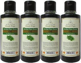 Khadi Pure Herbal Pure Neem Hair Oil - 210ml (Set of 4)