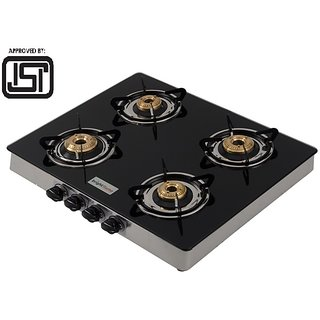 Brightflame ISI Marked  4 Burner Black Glass Top Gas Stove - Manual Ignition
