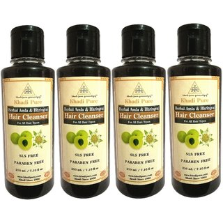 Khadi Pure Herbal Amla  Bhringraj Shampoo SLS-Paraben Free - 210ml (Set of 4)