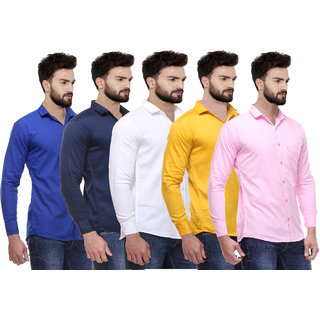 Pack of 5 Red Code Multicolor Slim Fit Shirts For Men