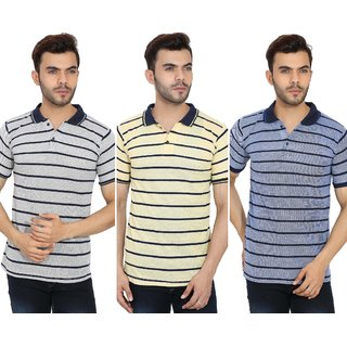 Balino London Men's Multicolor Polo Neck T-shirt Pack of 3