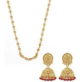 GoldNera Gold Plated Designer Combo of Chain and Jhumki for Women