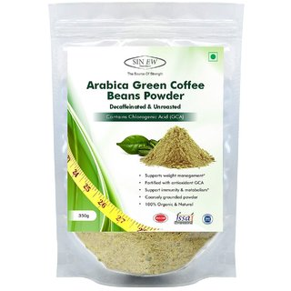 Sinew Nutrition Arabica Green Coffee Beans Powder 350gm, Decaffeinated  Unroasted Arabica Coffee Powder for Weight Loss