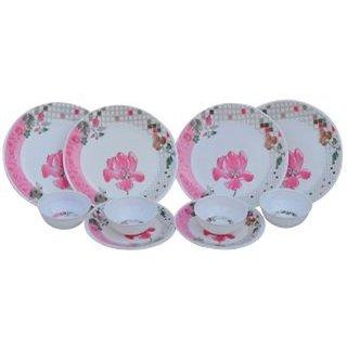 Czar Pink Melamine Dinner Set - 12 Pieces