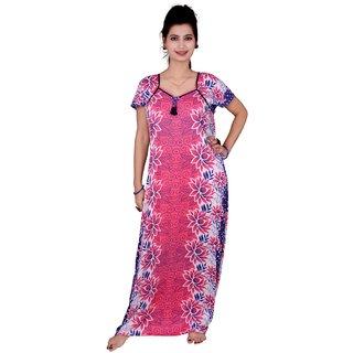 Kismat Fashion Pink Cotton long Nighty Kn19