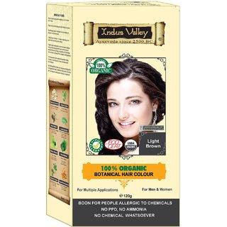 Indus Valley 100 Botanical Organic Healthier Hair Colour, LIGHT BROWN