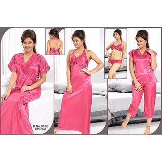 5ab87ce4d5 Sexy Seductive Sleep Wear 6pc Bra Panty Sheer Top Capri Nighty Over Coat Hot  Pink Colour