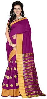 Bhuwal Fashion Multicolor Cotton Silk Embroidered Saree With Blouse