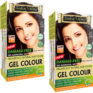 Indus valley Organically Natural Extra safe Gel Dark Brown 3.00 (Pack of 2) Hair Color