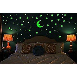 Pack Of 1 Radium Stars Paper Wall Sticker With Moon - Multicolor