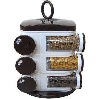 Ankur 12 Jars Rotating Spices/ Masala Rack Set, with 3 Different Halt, Transparent ABS Storage ,Black