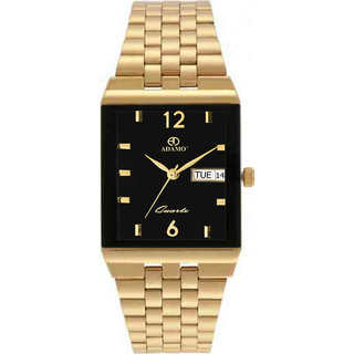 Adamo Rectangle Dail Gold Metal StrapMens Quartz Watch For Men