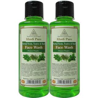 Khadi Pure Herbal Neem, Teatree  Basil Face Wash - 210ml (Set of 2)