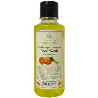 Khadi Pure Herbal Orange  Lemongrass Face Wash - 210ml