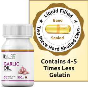 INLIFE  Natural Garlic Oil, 60 Capsules For Heart,Cholesterol and Weight Loss
