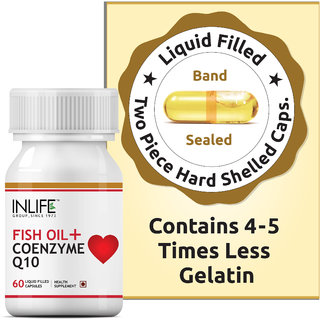INLIFE Fish Oil (Omega 3) with Coenzyme Q10, 60 Capsules