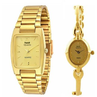HWT Gold Metal Strap Formal Analog Couple Watches