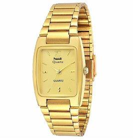 HWT Rectangle Gold Dial Metal Strap Analog Formal Watch For Men