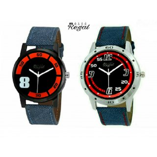Denim Analog Men's Watch Combo of 2 By Mark Regal