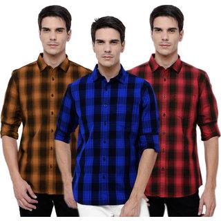 Black Bee Men's  Multicolor Slim Fit Casual Shirt (Pack of 3)