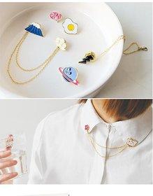 VeroniQ - Trendy Style Collar Enamel Brooch Fuji Planet , Lightening Design Brooch - 2 Qty