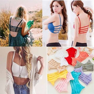 6 Strap Fancy Bra For Women & Girl Pack of 1-Removable Pad (Assorted Color)