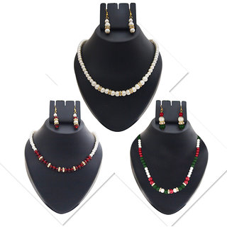 JewelMaze Gold Plated Multicolour Pearl Set of 3 Necklace Combo Set -PAA1437