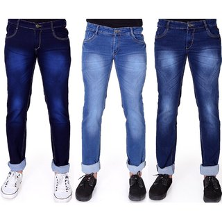 Ragzo Men Multicolor Slim Fit Jeans (Pack of 3)