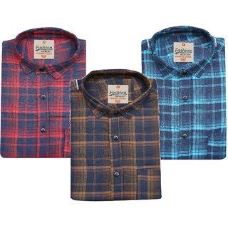 Blue Origin BL Check Poly-Cotton Shirt For Men