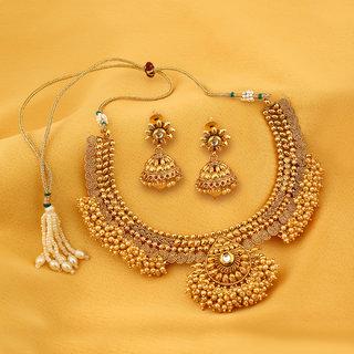 Meia Astonish Jalebi Design Gold Plated Choker Necklace set For Women