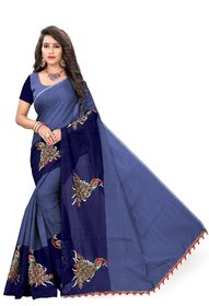 Indian Fashionista Blue Chanderi Cotton Self Design Saree With Blouse