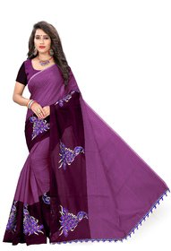 Indian Fashionista Pink Chanderi Cotton Self Design Saree With Blouse
