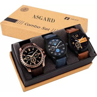 Asgard Quartz Multi color Round Dial Leather Strap Analog Watch For Men & Boy Combo of 3