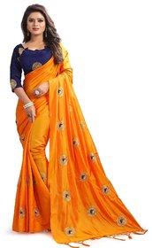 Meia Orange Silk Embroidered Saree With Blouse