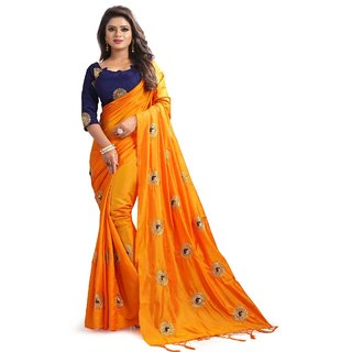Meia Orange Silk Embroidered Evening Wear Saree With Blouse