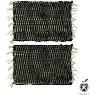 Home Berry Black Cotton Door Mats Set Of 2 (12 x  18 Inches)