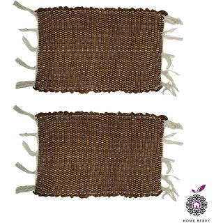 Home Berry Brown Cotton Door Mats Set Of 2 (12 x  18 Inches)
