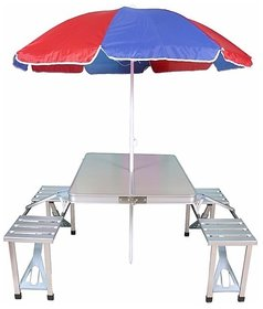 1M Kudos Aluminum Fold-able Picnic Table with Umbrella Metal Outdoor Table  (Finish Color - Grey)