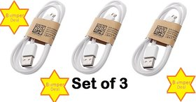 ECBC Pack of 3 Micro USB Cable for Charging - White
