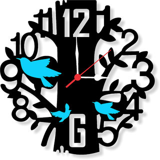 Balaji times FLYING BIRDS ON TREE Black Analog WALL CLOCK