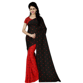 Anand Sarees Red Georgette Floral Saree With Blouse
