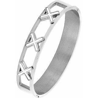 The Jewelbox Cross Rhodium 316L Surgical Stainless Steel Openable Bangle Cuff Kada Bracelet for Men