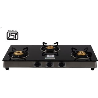 Brightflame ISI Marked 3 Burner Black Glass Stove - Tulip Series