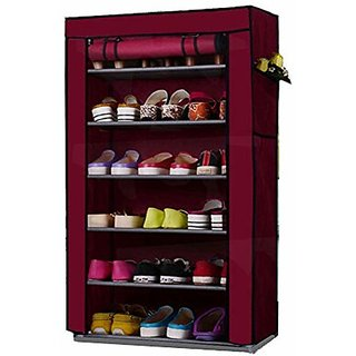 Shopper52 6 Layer Multi-Purpose Storage Rack Cum Shoe Rack With Cover - 6LYRACK