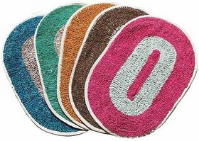 Hw Multicolor Nature and Floral Cotton Door Mats Pack Of 2  (10x10)